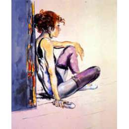 "Donald Hamilton Fraser RA silkscreen ""Dancer in Purple Leggings"""