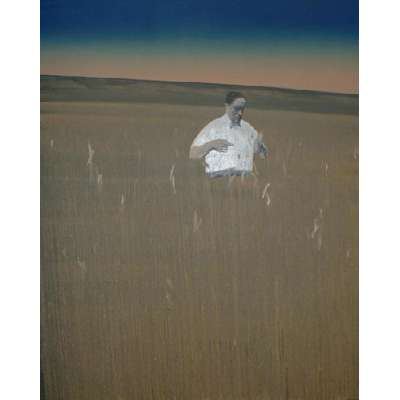 Jason Butler untitled oil on canvas of a man in a field