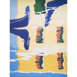 "Derek Crow original gouache painting ""Grand Canal, Venice"""