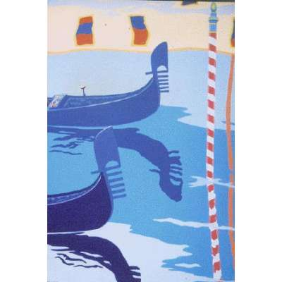 "Derek Crow original gouache painting ""Gondolas ~ Grand Canal"""