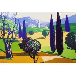 "Derek Crow original gouache painting ""Pieve San Stefano"""