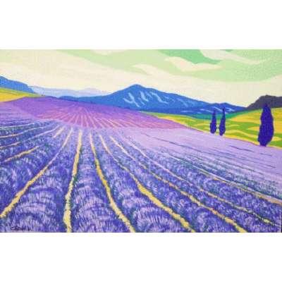 """Derek Crow original gouache painting """"Lavender Fields, Provence"""""""