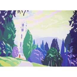 "Derek Crow original gouache painting ""San Macario in Alto"""