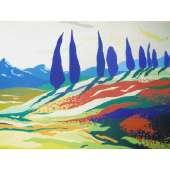 "Derek Crow original gouache painting ""Poppy Fields ~ Tuscany"""