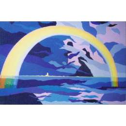 "Derek Crow original gouache painting ""Full Rainbow"""