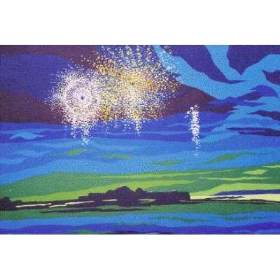 """Derek Crow original gouache painting """"Elizabeth Castle"""""""