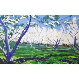 "Derek Crow original gouache painting ""Kent Apple Orchard"""