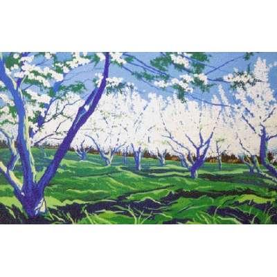 "Derek Crow original gouache painting ""Kent Apple Orchard"""