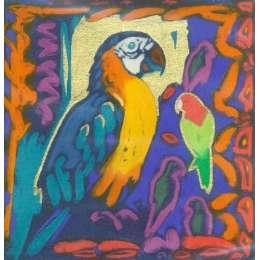 "Simon Bull hand coloured Etching ""Blue & Yellow"""
