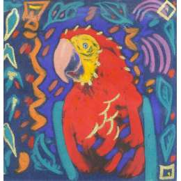 "Simon Bull hand coloured Etching ""Scarlet Macaw"""