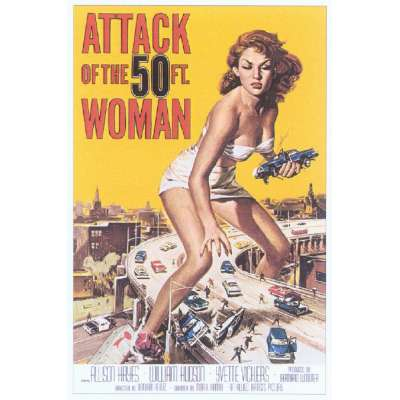"Poster printed on canvas ""Attack of the 50Ft Woman"""