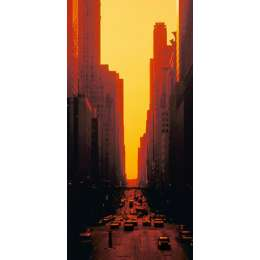 "S.S. Yamamoto photo on canvas ""Skyscrapers at Sunset"""
