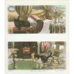 Laura Boyd hand coloured etching 'Upstairs downstairs'