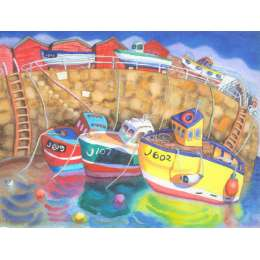 "Ian Rolls giclee print ""Rozel Harbour with Boats"" (Large size)"