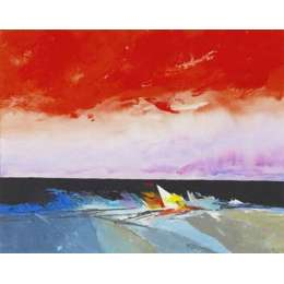 "Donald Hamilton Fraser silkscreen ""Evening Beachscape"""
