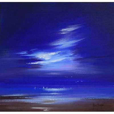 Allan Morgan acrylic on card 'Moon Glow'