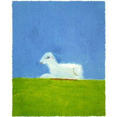 Craigie Aitchison ' Lamb in a Green Field' 2007