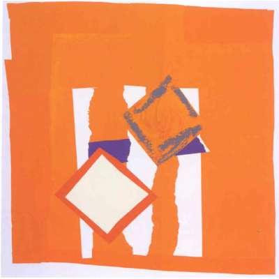 Sandra Blow RA 9 colour silkscreen 'Orange Field'