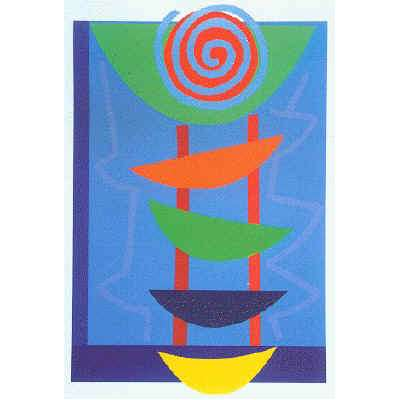 "Sir Terry Frost silk screen ""Orange green & blue rhythm"""