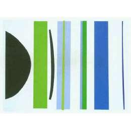 Sir Terry Frost screen print 'Blue & Green Verticals'