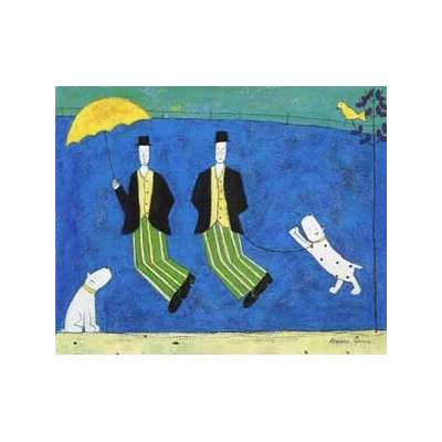 "Annora Spence silk screen print ""Jumping Men"""