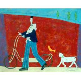 "Annora Spence silk screen print ""Walking the Scooter"""