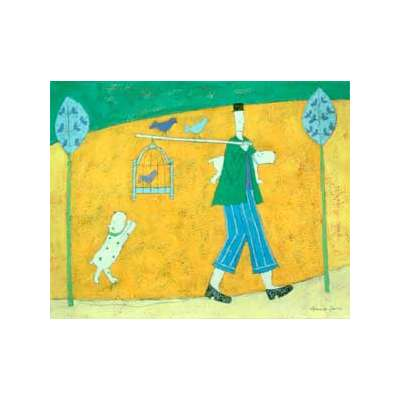 "Annora Spence silk screen print ""Walking the Birds"""