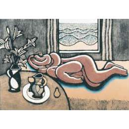 "Trevor Price hand coloured etching ""Sleeping Lovers I"""