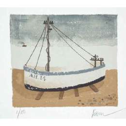 "Mary Fedden RA signed Lithograph ""Aldeburgh Fishing Boat"""