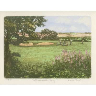Laura Boyd hand coloured etching 'A View form the Rough'