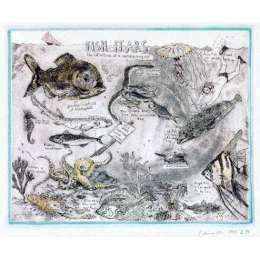 "Professor Chris Orr RA original etching ""Fish Fears"""