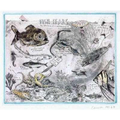 "Professor Chris Orr RA original etching ""Fish Fears"""