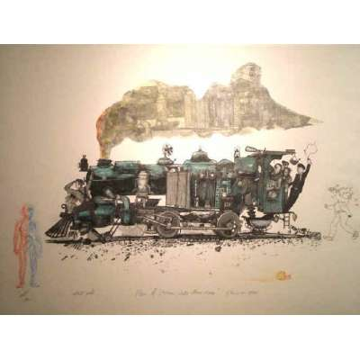 "Professor Chris Orr RA etching ""Men of Steam While others sleep"""