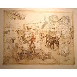 "Professor Chris Orr RA etching ""The Platters on Holiday"""