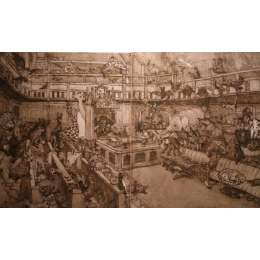 "Professor Chris Orr RA etching ""Mother of all Parliaments"""