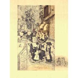 "Professor Chris Orr RA etching ""Seven Milkmaids on the Rampage"""