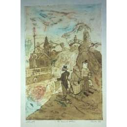 """Professor Chris Orr RA etching """"Three Old Fashioned Detectives"""""""