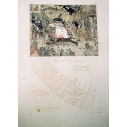 "Professor Chris Orr RA etching ""Where no Vultures Should Fly"""