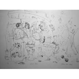 "Professor Chris Orr RA etching ""Girl's Bar"""