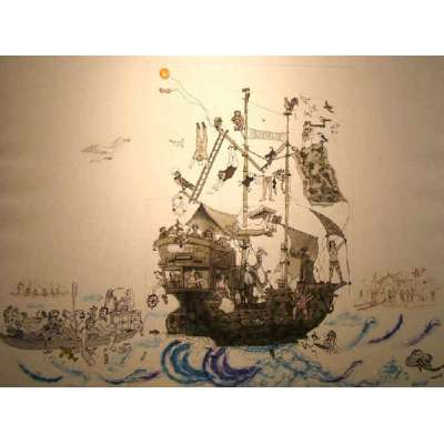"Professor Chris Orr RA etching ""Mutiny on the Unty"""