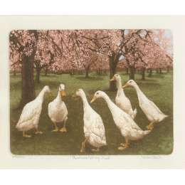 Laura Boyd hand coloured etching 'Runners Spring Meet'