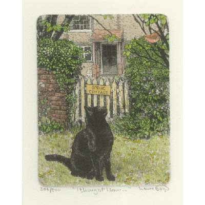 Laura Boyd hand coloured etching 'I though I saw'
