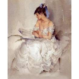 Sir William Russell Flint limited edition print Cecilia Reading'