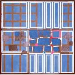 Sandra Blow RA signed screen print 'Blue Brown Interweave'