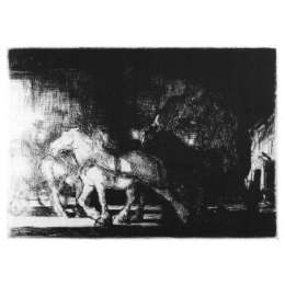 "Edmund Blampied R.E drypoint etching ""A street by Night"""
