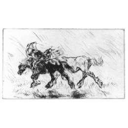 "Edmund Blampied R.E drypoint etching ""Through the Storm"""