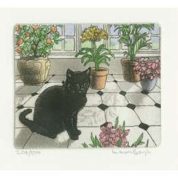 Laura Boyd hand coloured etching 'On the Tiles'