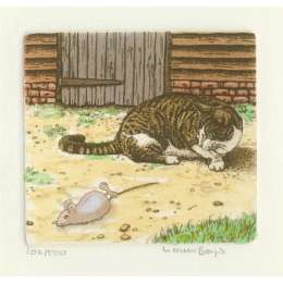 Laura Boyd hand coloured etching 'Wind Up!'