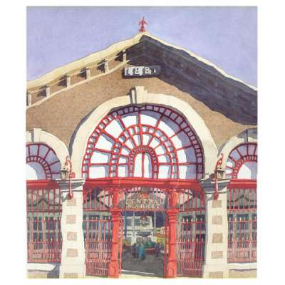 "Ian Rolls reproduction print ""Central Market, Jersey"""