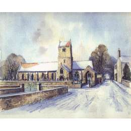 John Freeman watercolour of St Lawrence Church, Jersey